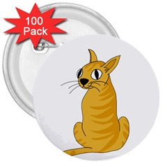 Yellow cat 3  Buttons (100 pack)