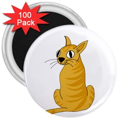 Yellow cat 3  Magnets (100 pack)