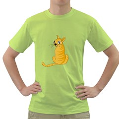 Yellow cat Green T-Shirt