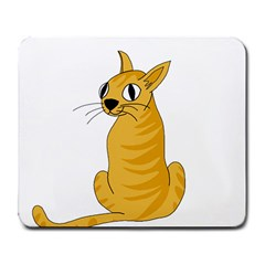 Yellow cat Large Mousepads