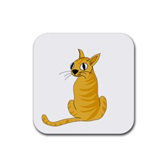 Yellow cat Rubber Square Coaster (4 pack)
