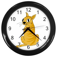 Yellow cat Wall Clocks (Black)