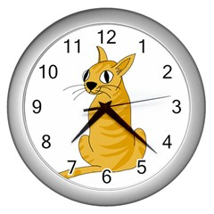 Yellow cat Wall Clocks (Silver)