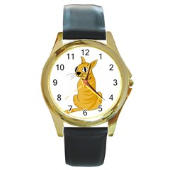 Yellow cat Round Gold Metal Watch