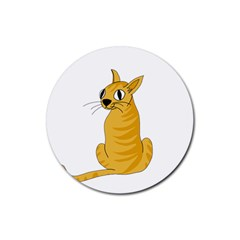 Yellow cat Rubber Round Coaster (4 pack)
