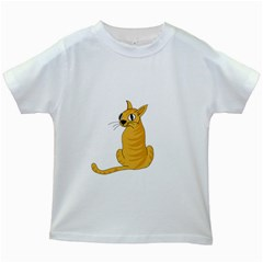 Yellow cat Kids White T-Shirts