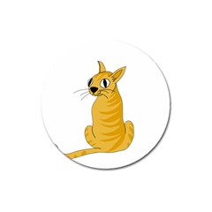 Yellow cat Magnet 3  (Round)