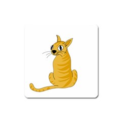 Yellow cat Square Magnet