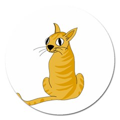 Yellow cat Magnet 5  (Round)
