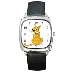 Yellow cat Square Metal Watch