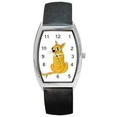 Yellow cat Barrel Style Metal Watch