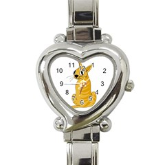 Yellow cat Heart Italian Charm Watch