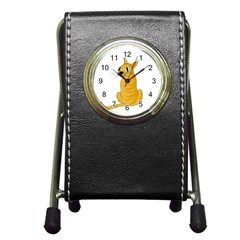 Yellow cat Pen Holder Desk Clocks