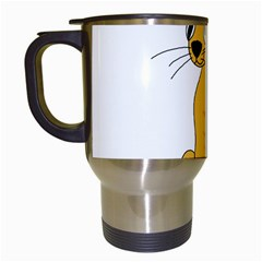 Yellow cat Travel Mugs (White)
