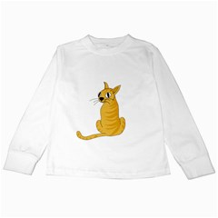 Yellow cat Kids Long Sleeve T-Shirts