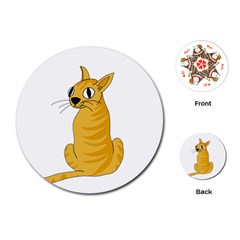 Yellow cat Playing Cards (Round)