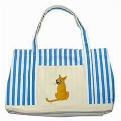 Yellow cat Striped Blue Tote Bag