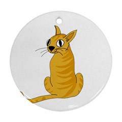 Yellow cat Round Ornament (Two Sides)