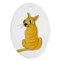 Yellow cat Oval Ornament (Two Sides)
