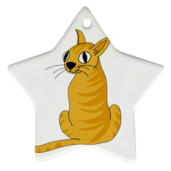 Yellow cat Star Ornament (Two Sides)