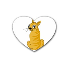 Yellow Cat Heart Coaster (4 Pack)  by Valentinaart