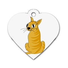 Yellow cat Dog Tag Heart (Two Sides)