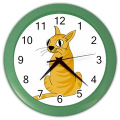 Yellow Cat Color Wall Clocks by Valentinaart