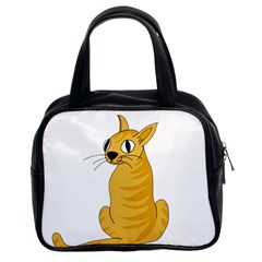 Yellow cat Classic Handbags (2 Sides)