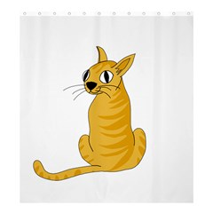 Yellow cat Shower Curtain 66  x 72  (Large)