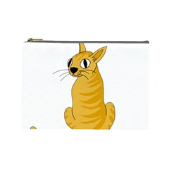 Yellow cat Cosmetic Bag (Large)