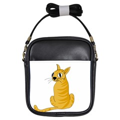 Yellow cat Girls Sling Bags