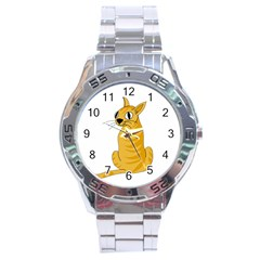 Yellow cat Stainless Steel Analogue Watch
