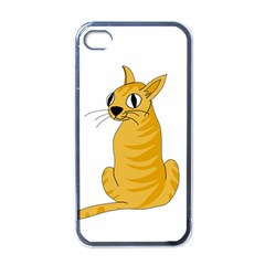 Yellow cat Apple iPhone 4 Case (Black)