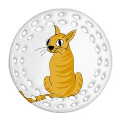 Yellow cat Ornament (Round Filigree)