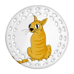 Yellow cat Round Filigree Ornament (2Side)