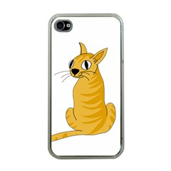 Yellow cat Apple iPhone 4 Case (Clear)