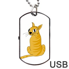 Yellow Cat Dog Tag Usb Flash (one Side) by Valentinaart