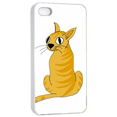 Yellow cat Apple iPhone 4/4s Seamless Case (White)