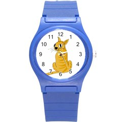 Yellow cat Round Plastic Sport Watch (S)
