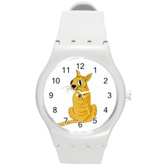 Yellow cat Round Plastic Sport Watch (M)