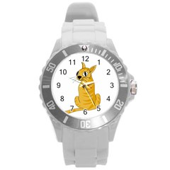 Yellow cat Round Plastic Sport Watch (L)