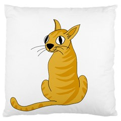 Yellow cat Large Cushion Case (Two Sides)