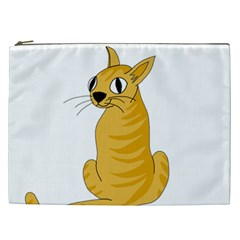 Yellow Cat Cosmetic Bag (xxl)  by Valentinaart
