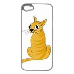 Yellow cat Apple iPhone 5 Case (Silver)