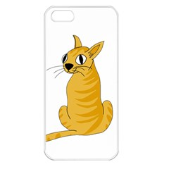 Yellow cat Apple iPhone 5 Seamless Case (White)