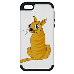 Yellow cat Apple iPhone 5 Hardshell Case (PC+Silicone)