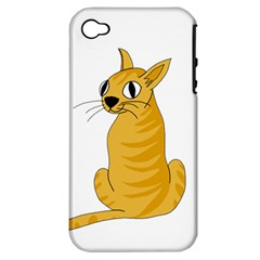 Yellow cat Apple iPhone 4/4S Hardshell Case (PC+Silicone)