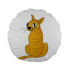 Yellow cat Standard 15  Premium Round Cushions