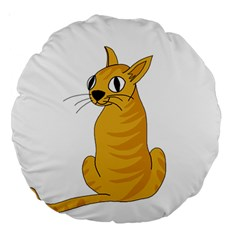 Yellow cat Large 18  Premium Round Cushions