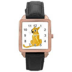 Yellow cat Rose Gold Leather Watch